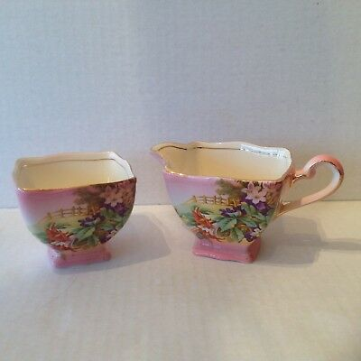 Rare Royal Winton Grimwades Pink Trumpet Flowers Creamer and Sugar Bowl England