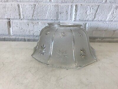 Vintage Frosted Cut Glass Star Ribbed Light lamp Shade