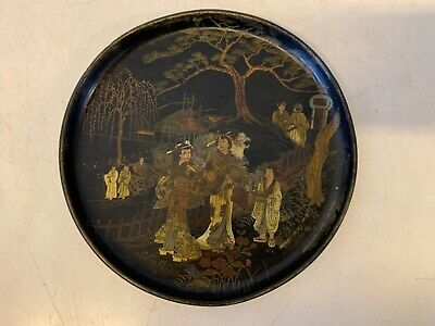 Antique Chinese Lacquerware Gold Painted Figural Village Scene Plate