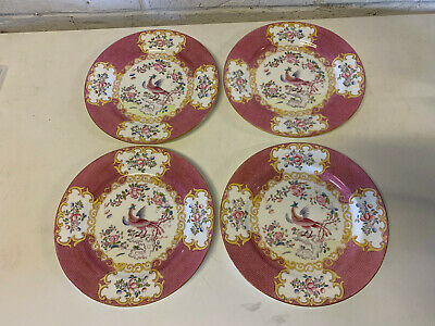 Vintage Antique Minton Porcelain Pink Cockatrice Pattern Set of 4 Plates
