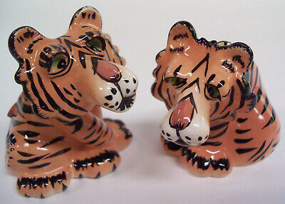 Vintage SWAK Lynda Corneille Kissing Tiger Salt & Pepper Shakers Never Used NICE