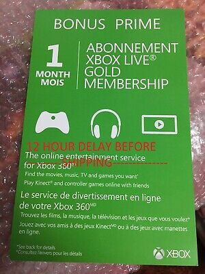 Xbox 360 Xbox One 1 Month Live Gold Membership SHIPPED WITHIN 12 HOURS