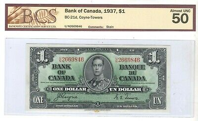 1937 1 DOLLAR BC21d  BCS GRADED ALMOST UNC50 #UN2669846&47 2 NOTES  SMALL STAIN