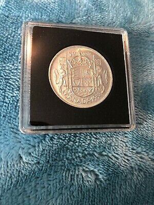 1958 Canada Silver Fifty Cent Coin In Square Capsule UNC