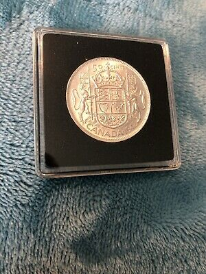 1942 Canada Silver Fifty Cent Coin High Grade In Square Capsule