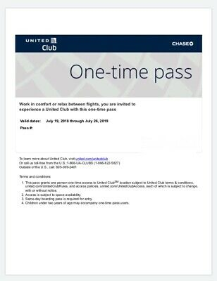 UNITED CLUB PASS-1 Pass Emailed Expires July 20 2019