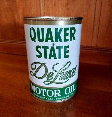 NOS FULL * 1980's Vintage QUAKER STATE DELUXE MOTOR OIL Old 1 qt. ALL Metal Can!