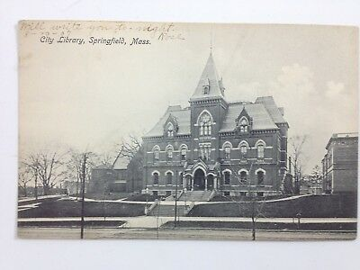 Old Postcard ~ 1907 City Library, Springfield, Massachusetts