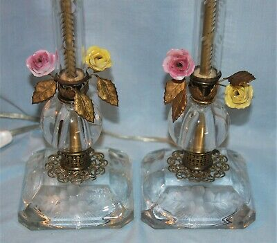 PAIR Vintage Crystal, Brass, & Porcelain Flowers Dresser, Mantle, Buffet Lamps