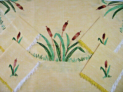 Vintage Luncheon Tablecloth 29x30 w/ 4 Napkins Gold Linen Embroidered Cattails