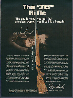 Vintage Magazine Ad Weatherby Magnum Rifle September 1967