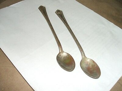 SILVERPLATE Ice Tea Spoon/Parfait Spoon, Branford Silverplate, 2 SPOONS