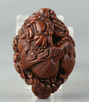 Chinese Exquisite Handmade Mythical animal Carving Olive nucleus Pendant