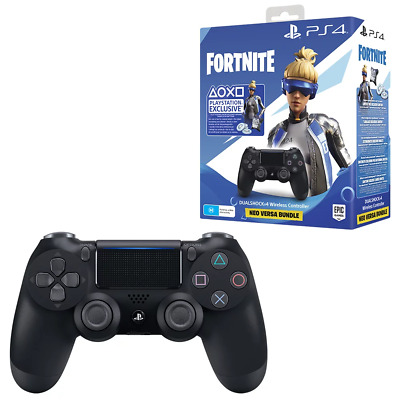 PlayStation 4 DualShock 4 Black Wireless Controller Fortnite Neo Versa Bundle