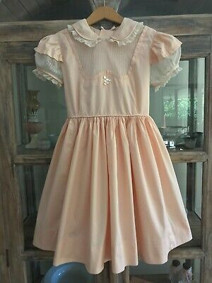 1950's vintage Celeste New York shell pink pinafore style party dress