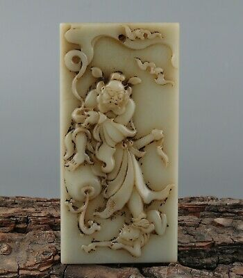 Chinese Exquisite Handmade mythology figure Carving Hetian jade Pendant