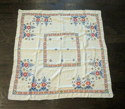 Vintage Embroidered Linen Cotton Square Tablecloth Red Blue Floral GORGEOUS