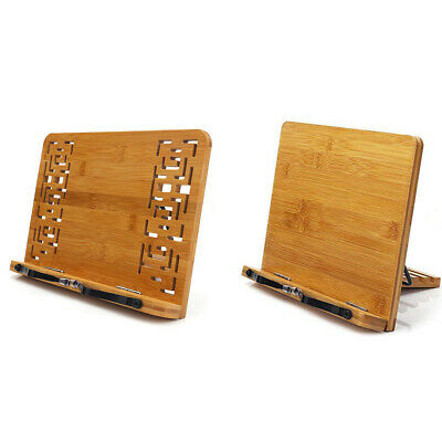 Bracket Adjustable Reading Rest Tablet Book Stand Hollow Out Bamboo Holder Retro