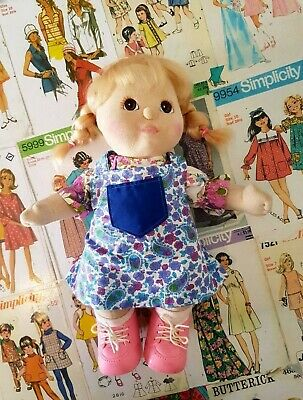 Vintage 1984 My Child Blonde Brown Eyes handmade floral Outfit and pink Shoes