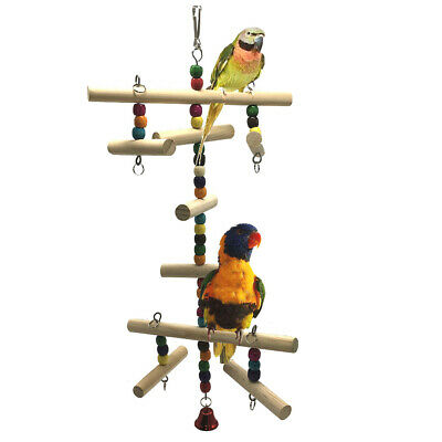 Cage Decoration Wooden Ball String Hanging Colorful Parrot Chew Toy Perch Bird
