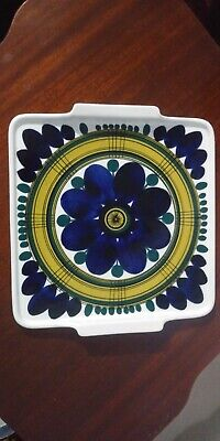 "Mid Century Modern Arabia Finland 9"" Sq Pottery Twin Handled Tray Signed SAG/UT"