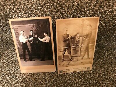 19th Century Cabinet Card Boxing Pose Michigan City,Indiana