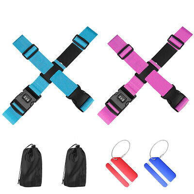 Adjustable Luggage Straps Safe Buckle Coded Lock Tie Down Belt Baggage Suitcase