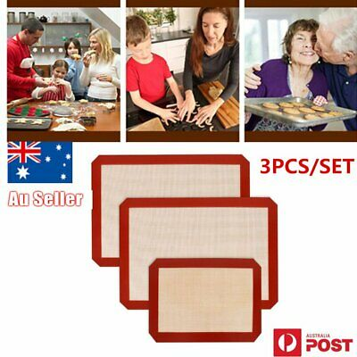 3PCS/SET Non-Stick Food Grade Silicone Baking Mat Pad Sheet Baking pastry m7
