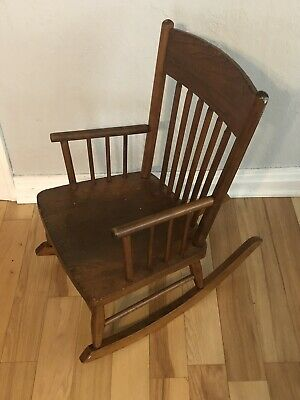 antique furniture heywood wakefield Childs Spindle Rocking Chair Rare Small