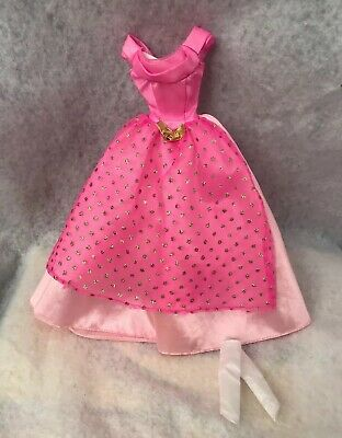 Barbie 1999 Princess Rapunzel Pink Gown with Gold Glitter And Gloves Replacement