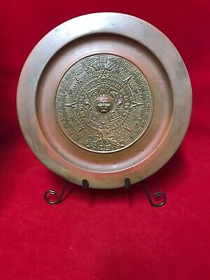 Vintage Mexican Metal Plate  Aztec Mayan Calendar  Wall Decor With Stand.