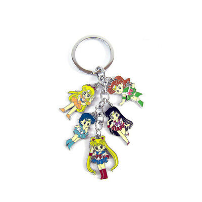 Anime Sailor Moon 5 Characters Keychain Keyring Cosplay Prop Gift Girl