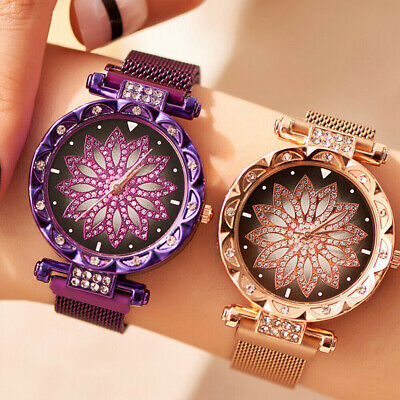 Women Watch Free Buckle  Nice Gift  Stainless Steel Starry Sky Magnet Strap