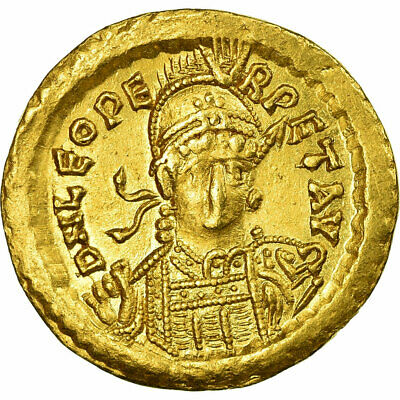 [#474730] Coin, Leo I, Solidus, Constantinople, AU(55-58), Gold, RIC:605
