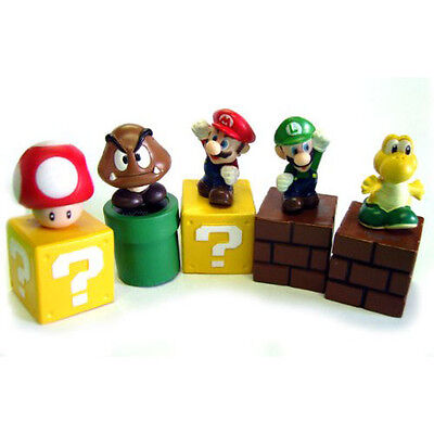 "5PCS Super Mario Bros Mini Action Figure PVC Doll Toy 2"" Goomba Luigi Koopa Gift"
