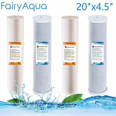 "2 Pack Whole House Big Blue Water Filter Cartridges Sediment Carbon  20"" x 4.5"""