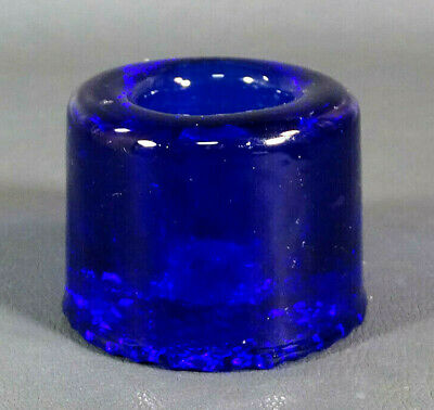 Antique Victorian European French Cobalt Blue Glass Inkwell Ink Well Bottle Pot