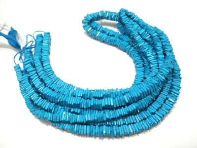 """1 Strand Natural Turquoise Smooth Square Heishi Gemstone Beads 16"""" 5-5.5mm"""
