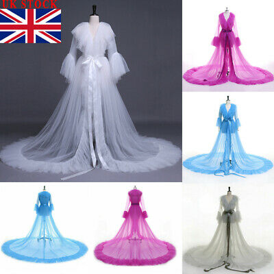 UK Lingerie for Women Sexy Long Lace Dress Sheer Gown See Through Kimono Robe