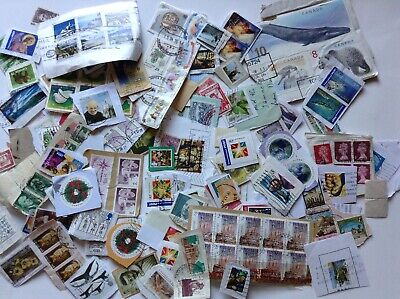 WW KILOWARE USED STAMPS 400 GRAMS ON PAPER about 2000 stampsB