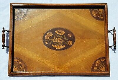 Antique Oak Tray Twin Handles Moulded Gallery Coloured Wood Inlay Floral Design
