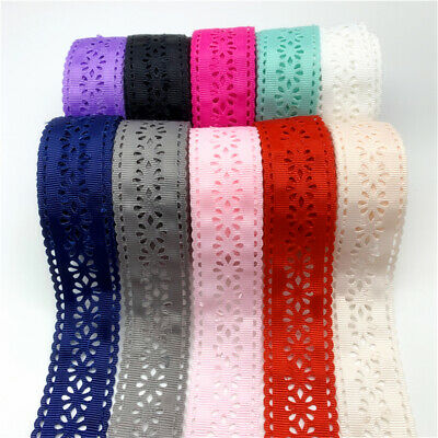 5yards 30mm Hollow Lace Grosgrain Ribbon Hollow Flower Pattern Ribbon For Bow
