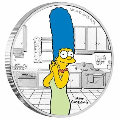 2019 Tuvalu $1 The Simpsons Marge 1oz Silver Proof Coloured Coin