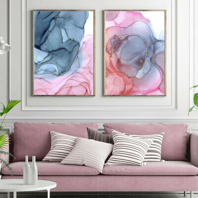 Abstract Art Painting Pink Blue Gold Watercolour Set Print Poster A4 A3 A2 A1