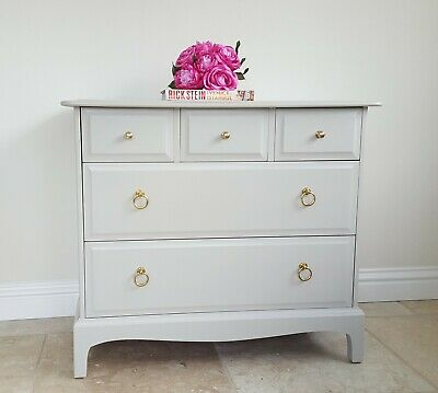 Stag Chest of Drawers, 3 over 2, Mid Century Retro Furniture Painted in Beige