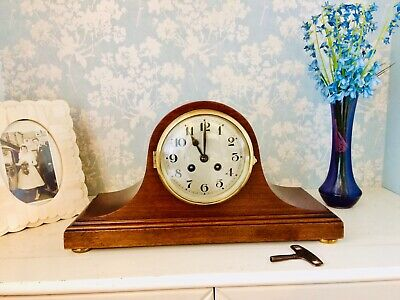 Beautiful French Walnut Napoleon Hat Chiming Mantel Clock Circa 1910 Restored