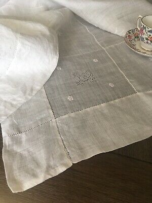Vintage Embroidered White Linen Tablecloth Floral Figural Lace