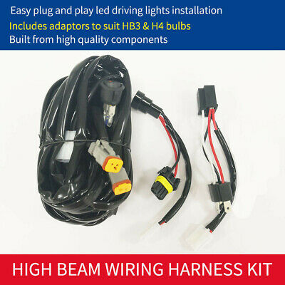 Plug and Play LED Driving Light Wiring Harness Kit Loom High Beam 12V 24V Relay