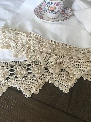 Vintage Cotton Pillowcase Pair With Crocheted Lace