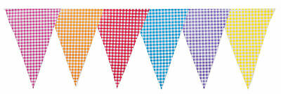 Bunting Gingham Mixed Colours Pastel 20 Flags10m Pink Red Blue Purple 33 Feet